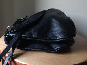 The Tent Bag - Black leather evening bag.Leather tote bag,folded shoulder bag. Short handle, long cross body strap and lots of pockets and space. Leather