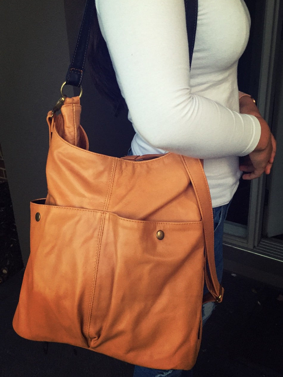 The Rio-Convertible soft shoulder tote bag, Super soft genuine leather tote.