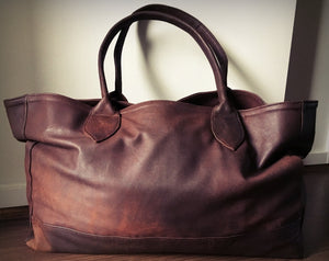 The Patron-Brown leather shoulder tote bag. Classy and classic shoulder handbag.