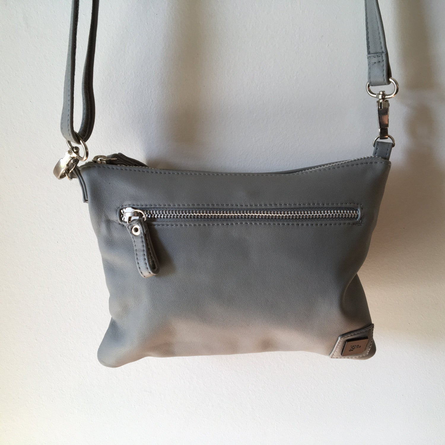 The Hipster - Leather crossbody bag with pocket. Simple yet stylish made  from soft leather