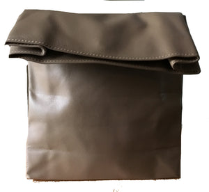 The Lunch-Leather Lunch Bag rolled clutch. Leather lunch bag tote. Rolled over clutch purse.