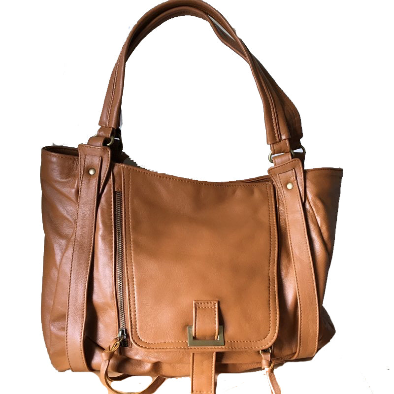 The Pouch - Leather shoulder handbag in genuine lambskin leather.