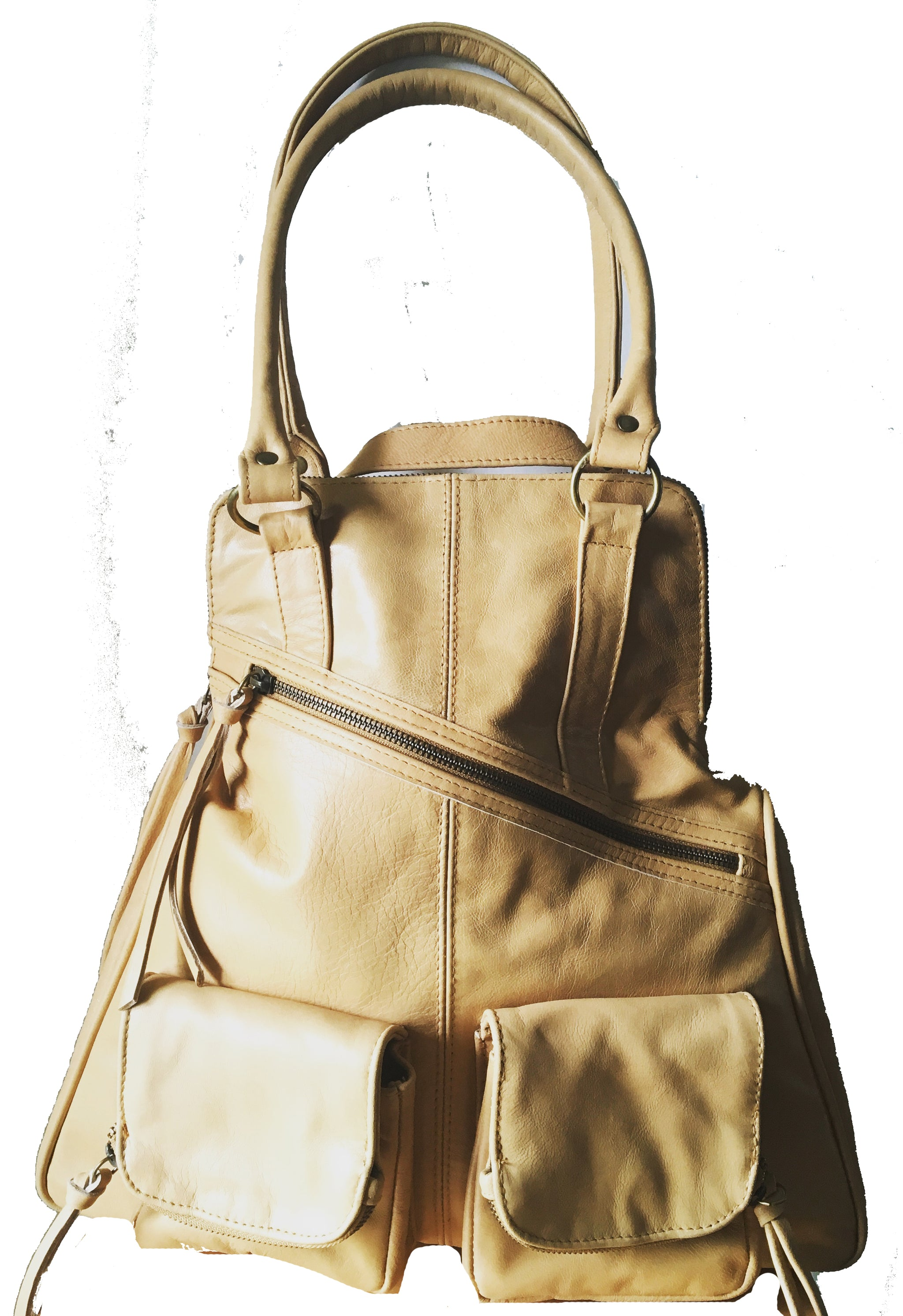 The Zoe - Tan leather shoulder tote and backpack in one.