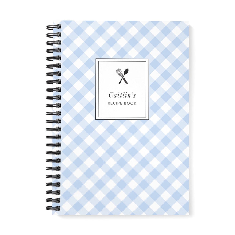 Recipe Book Personalised | Blue Gingham Check