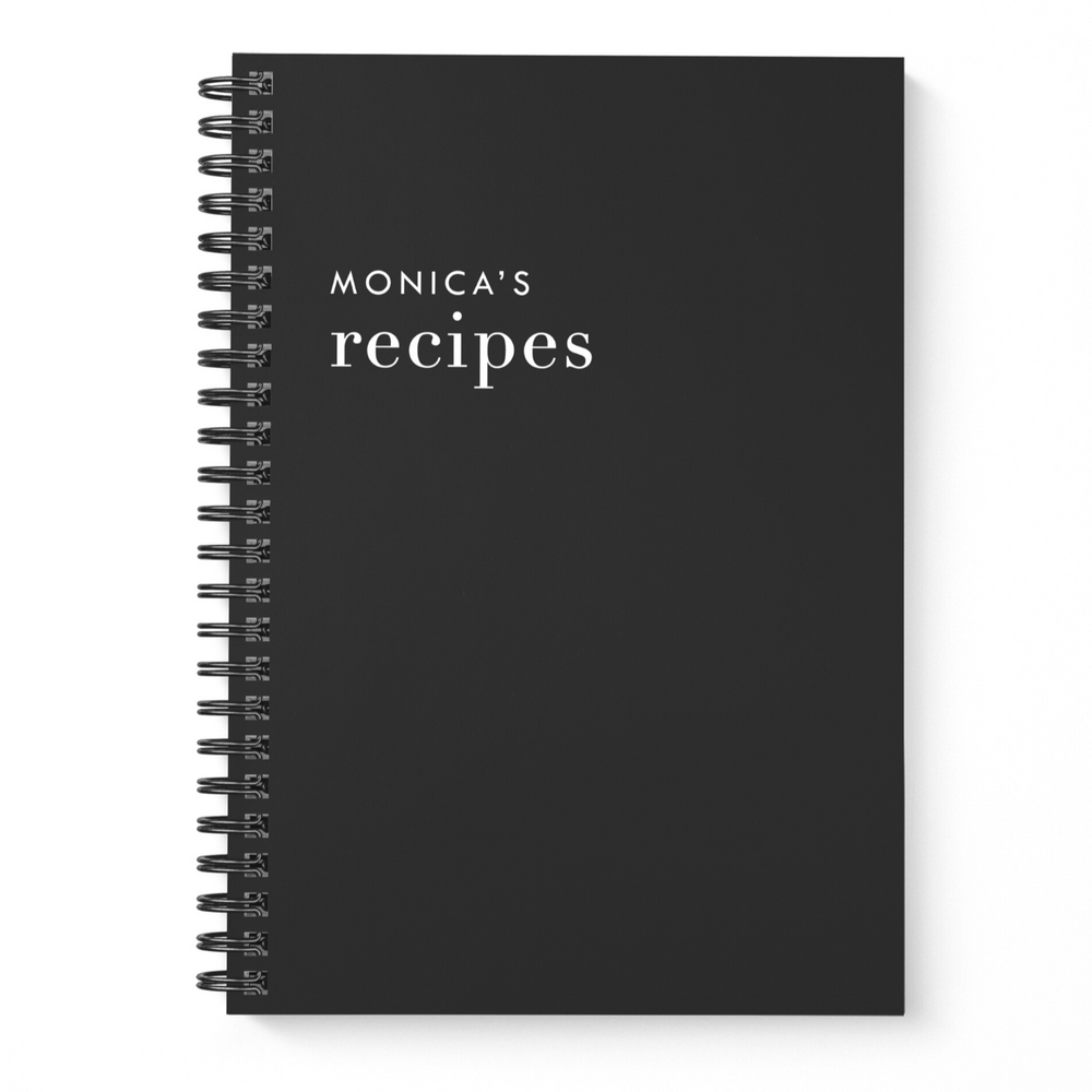 Blank Recipe Book Personalised | Classic Black