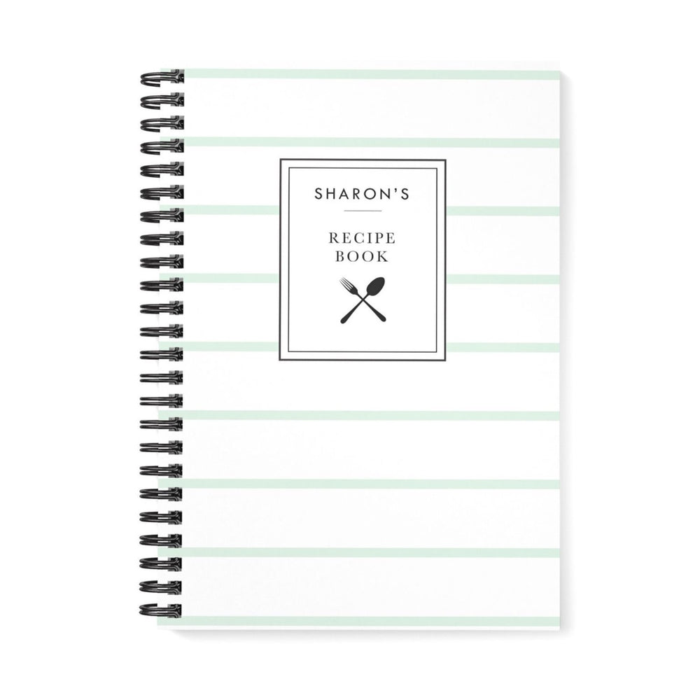 Recipe Book Personalised | Mint Stripes