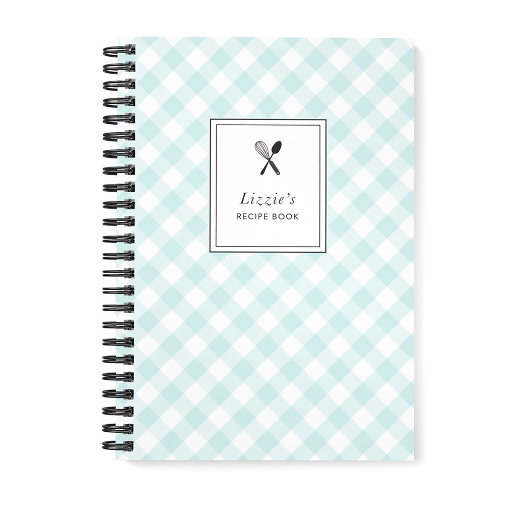 Recipe Book Personalised | Green Mint Gingham Check