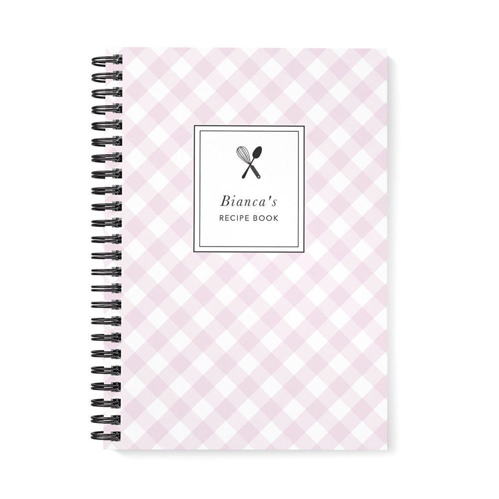 Recipe Book Personalised | Lilac Gingham Check