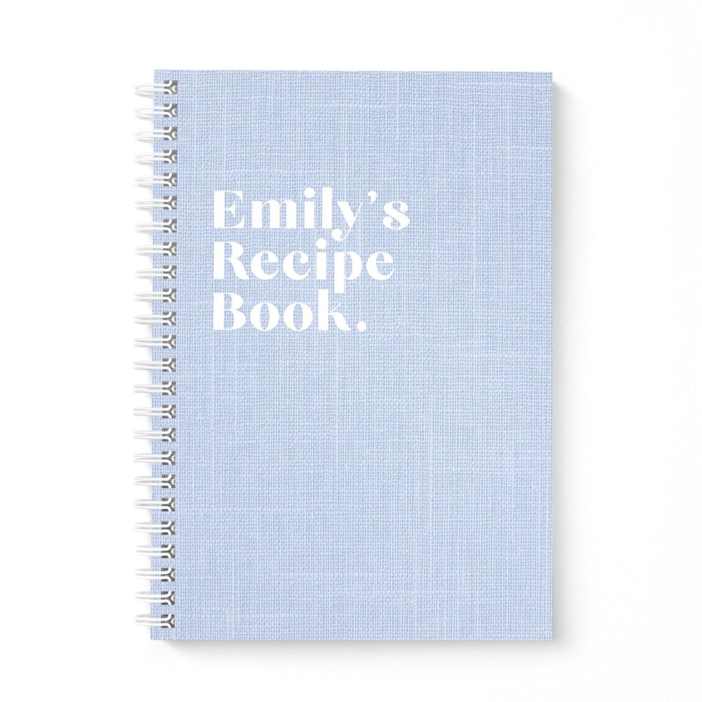 Blank Recipe Book Personalised | Blue Linen
