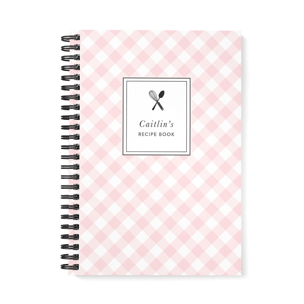 Recipe Book Personalised | Blush Gingham Check - The Luxe Gift Co.