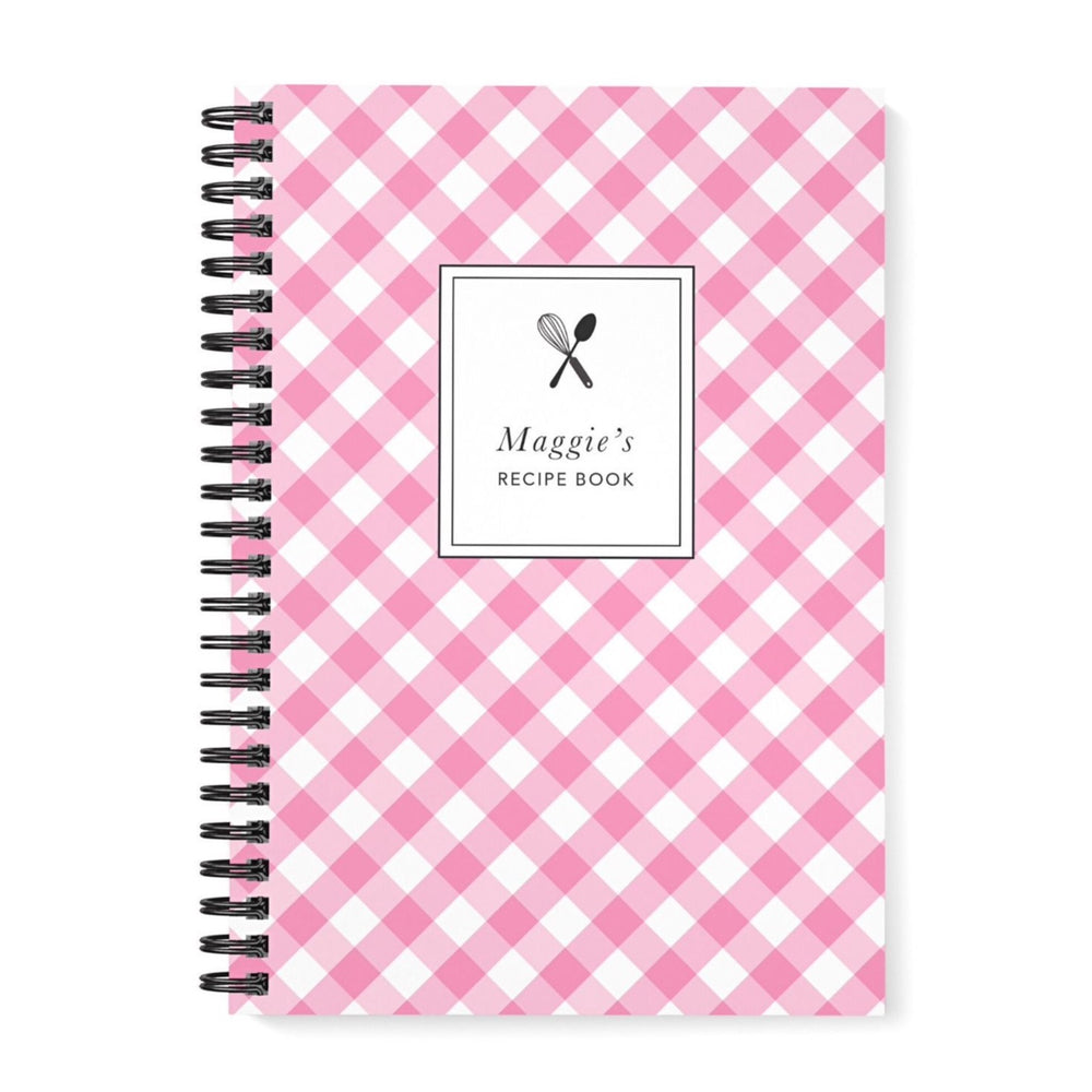 Recipe Book Personalised | Pink Gingham Check