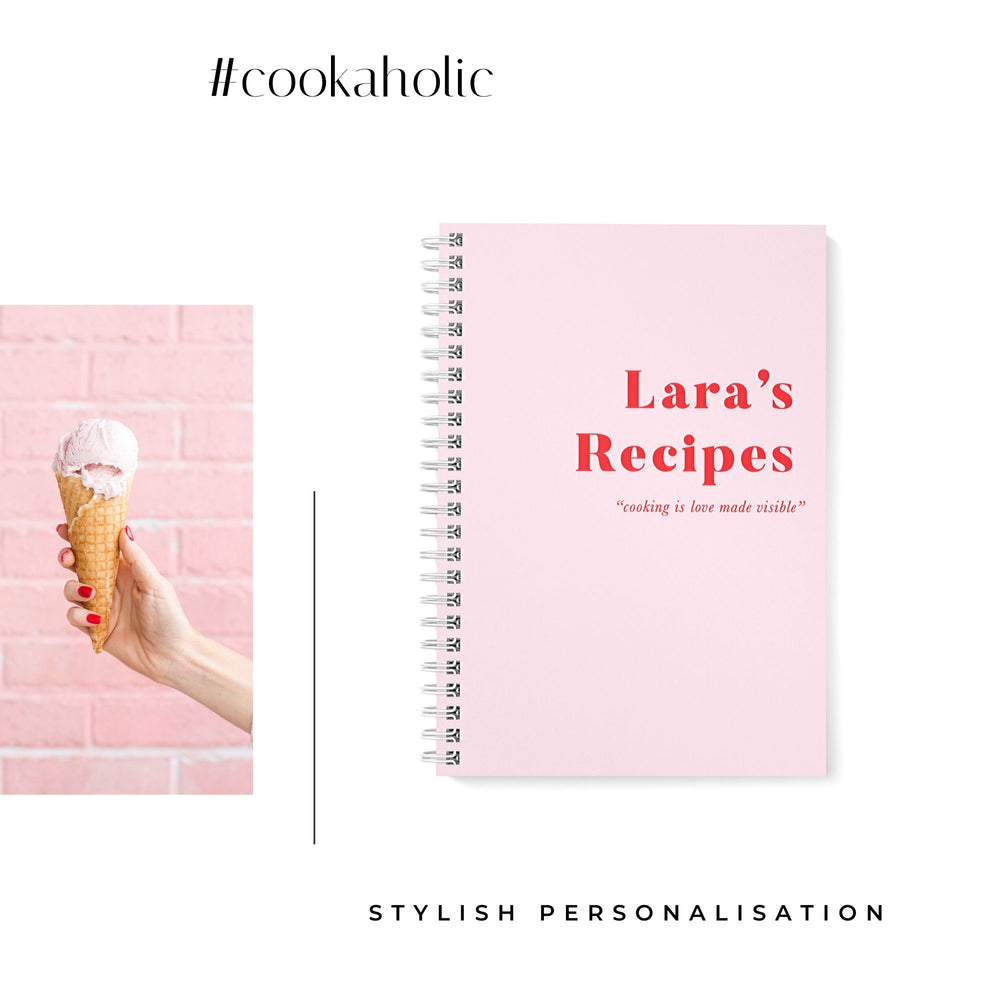 Recipe Book Personalised | Just Pink - The Luxe Gift Co.