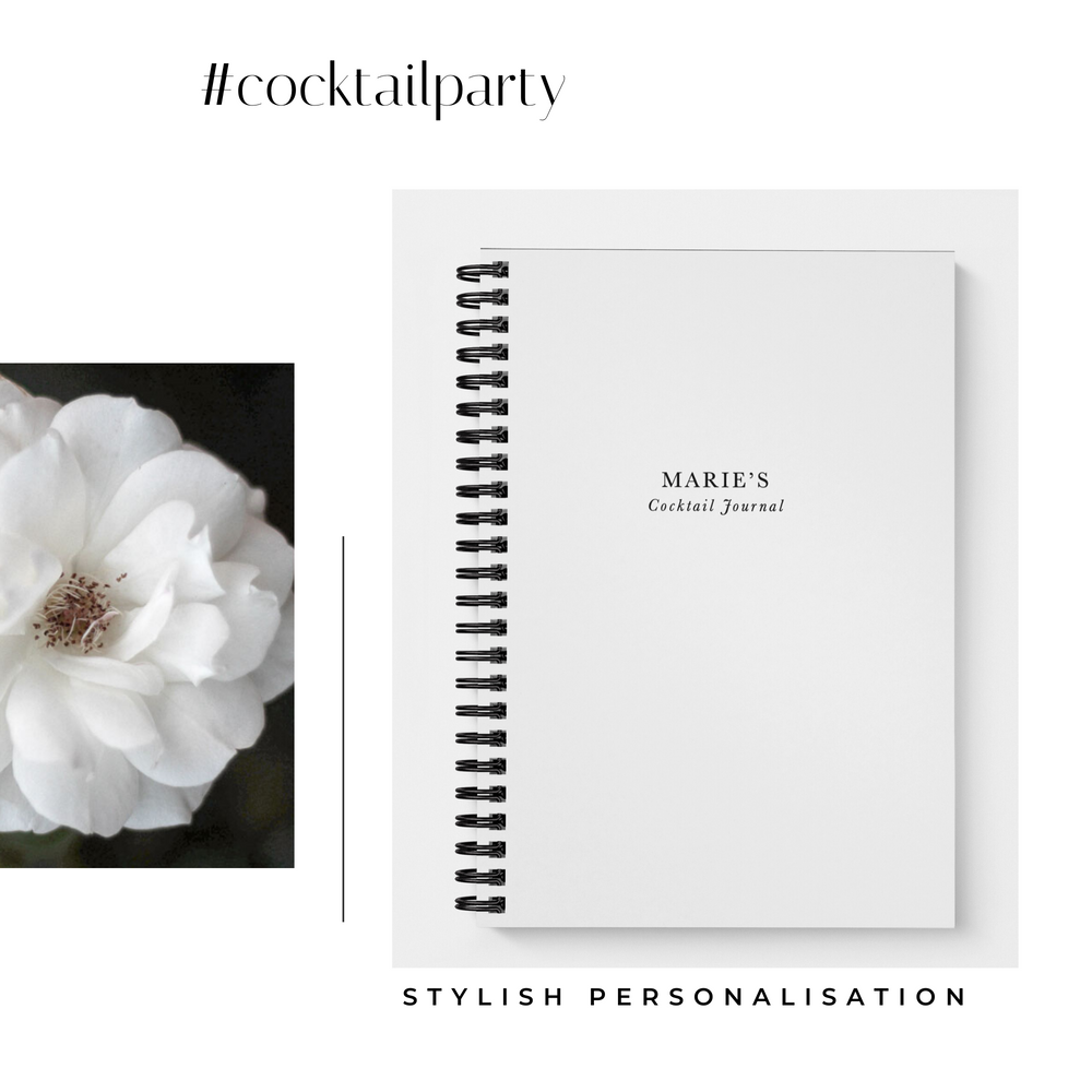 Blank Cocktail Recipe Book Personalised | White - The Luxe Gift Co.