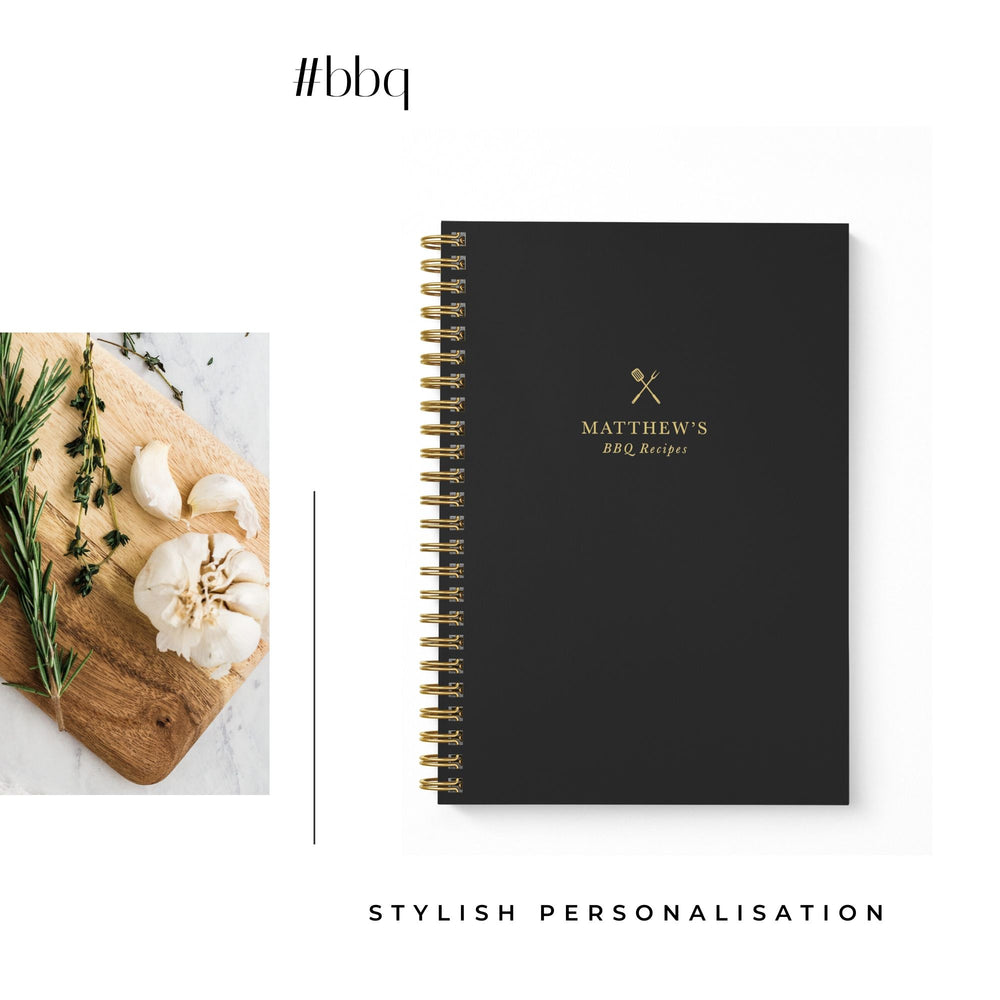 BBQ Recipe Book Personalised | Black & Brass - The Luxe Gift Co.