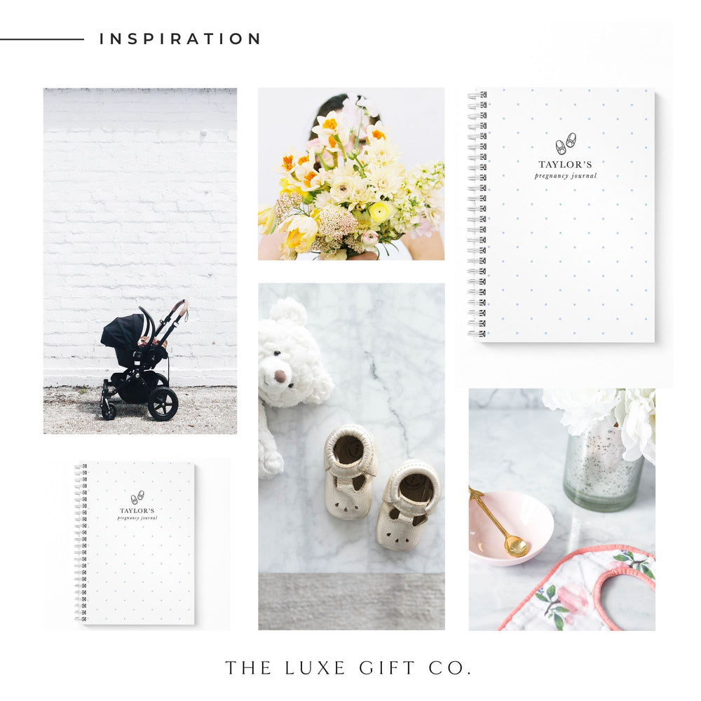 Pregnancy Notebook Personalised | Blue Spots - The Luxe Gift Co.