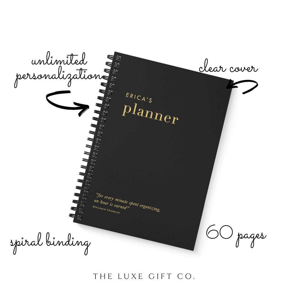 Personalised Weekly Planner | Black - The Luxe Gift Co.