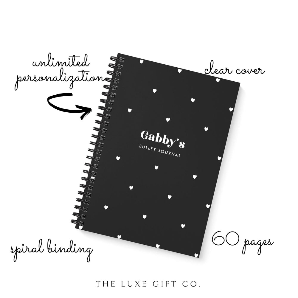 Bullet Journal A5 Notebook | Hearts Black - The Luxe Gift Co.