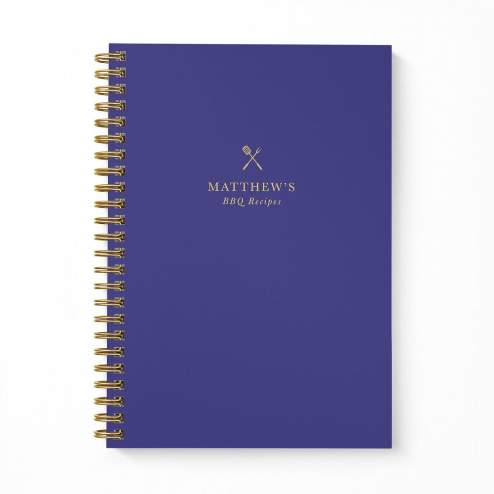 BBQ Recipe Book Personalised | Navy & Brass