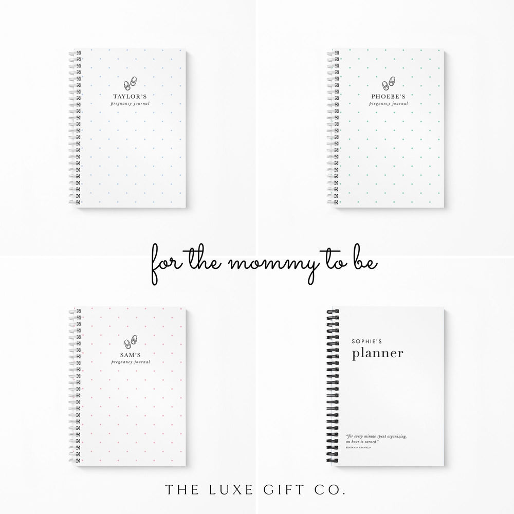 Pregnancy Notebook Personalised | Mint Spots - The Luxe Gift Co.