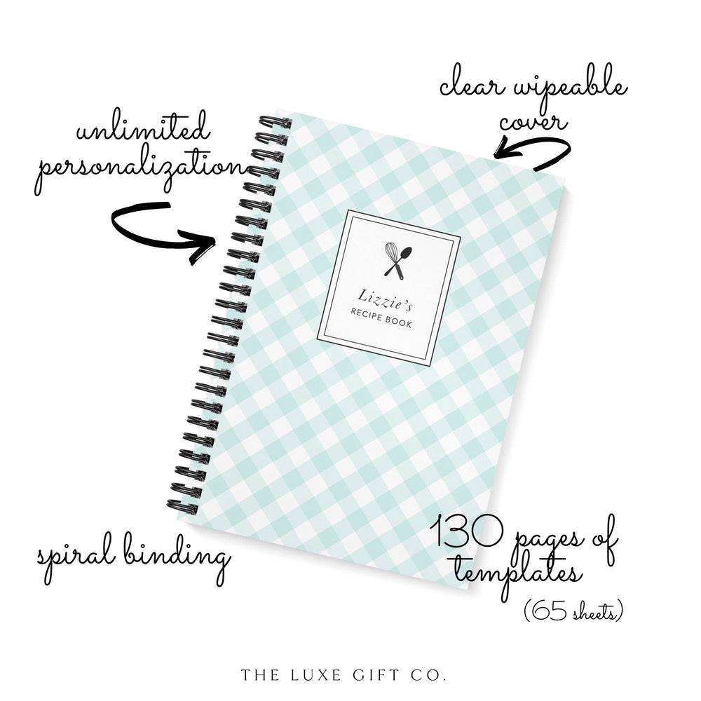 Recipe Book Personalised | Green Mint Gingham Check - The Luxe Gift Co.