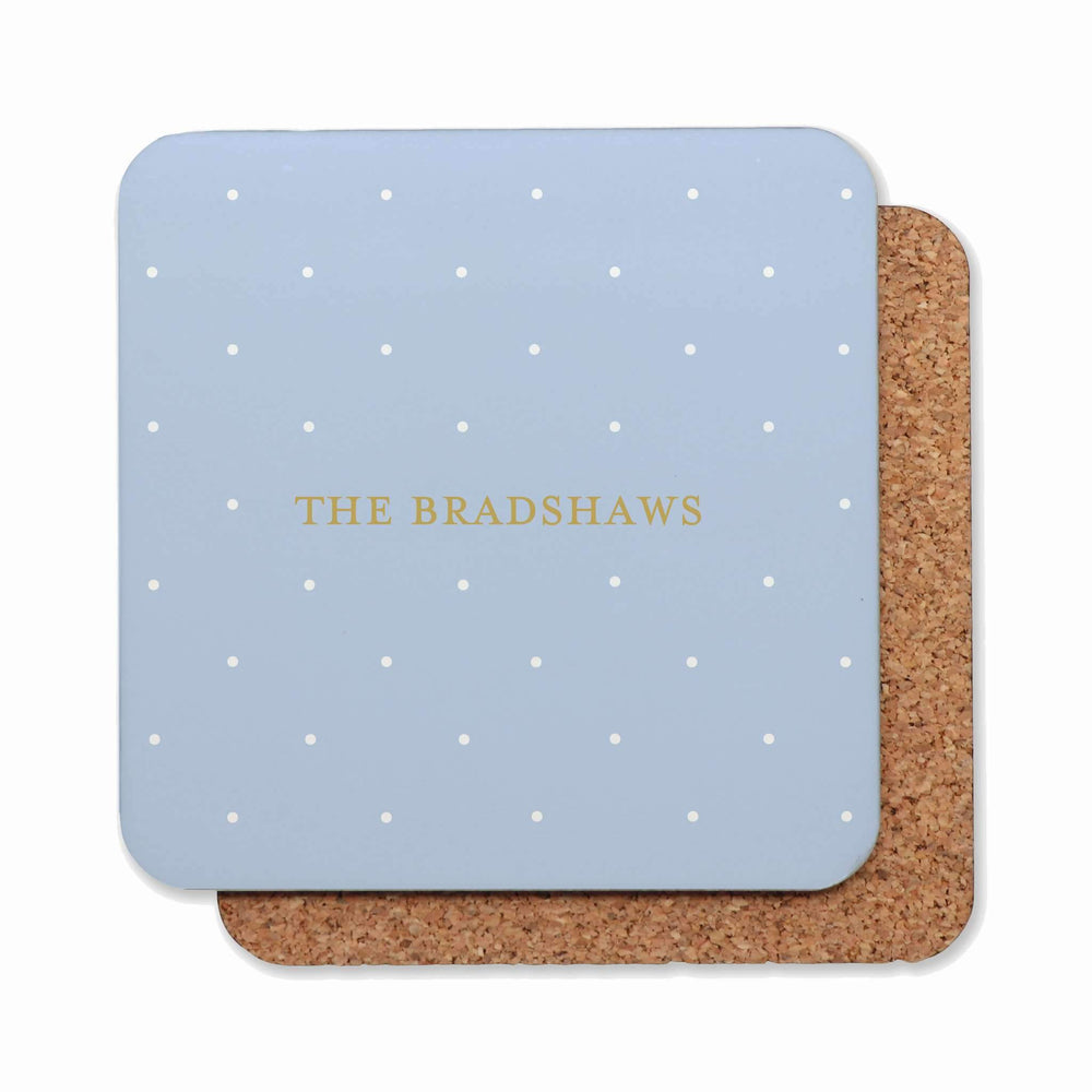 Drink Coasters Personalised | Classic Polka Dots in Blue