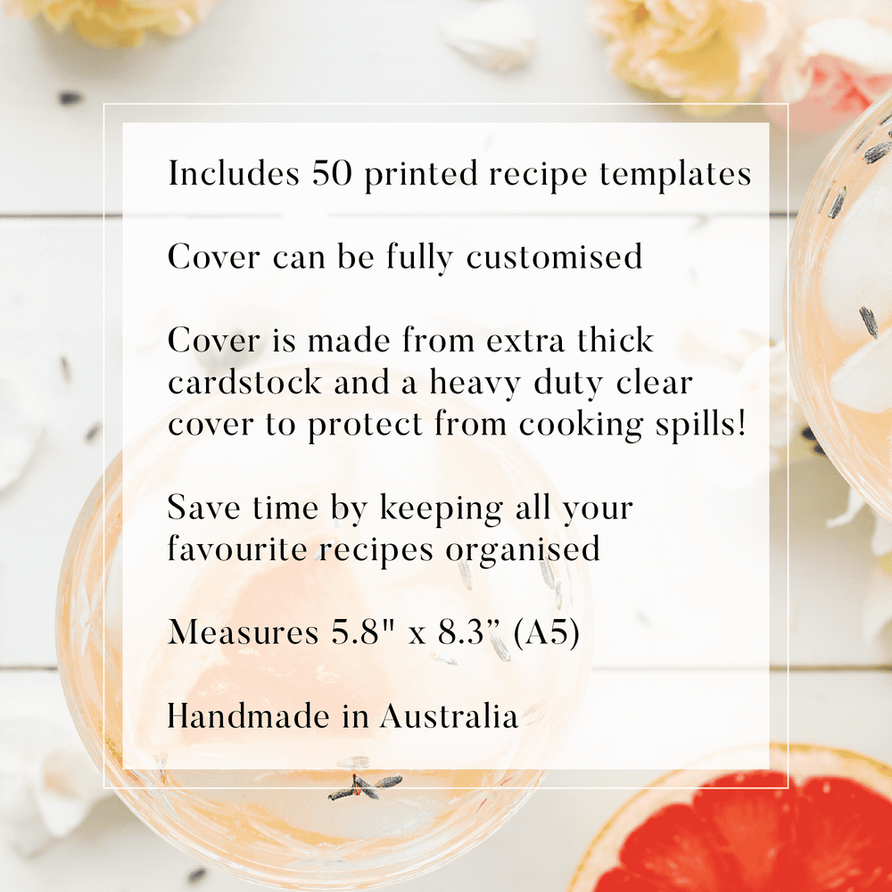 Blank Recipe Book Personalised | Gingham Chic in Blush - The Luxe Gift Co.