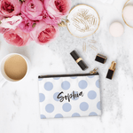 Personalised Makeup Bag - Large Polka Dots Bluebell - The Luxe Gift Co.
