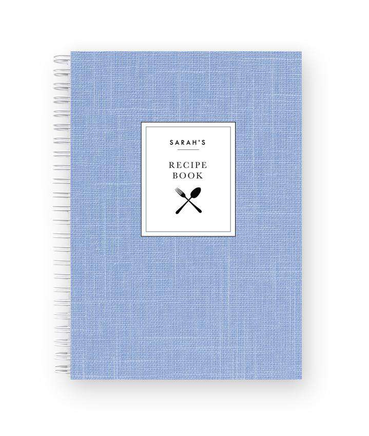 Blank Recipe Book Personalised | French Blue Linen
