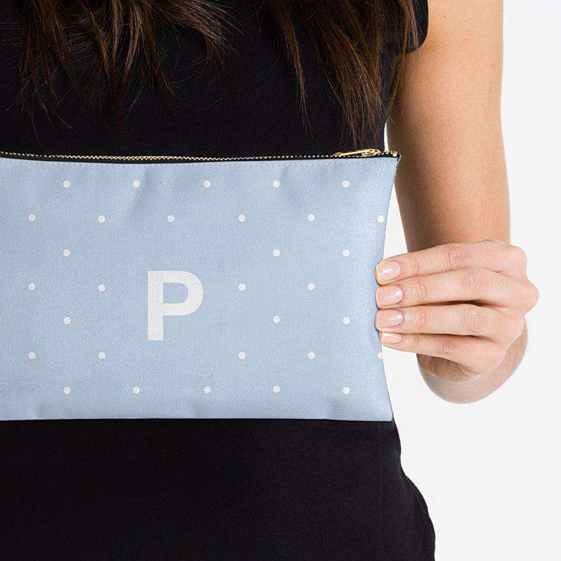 Personalised Makeup Bag - Polka Perfection Blue - The Luxe Gift Co.