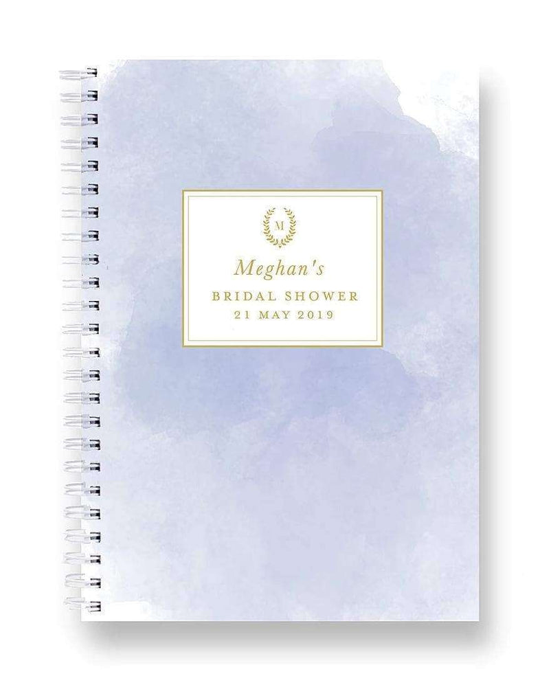 Bridal Shower Recipe Book | Blue Watercolour