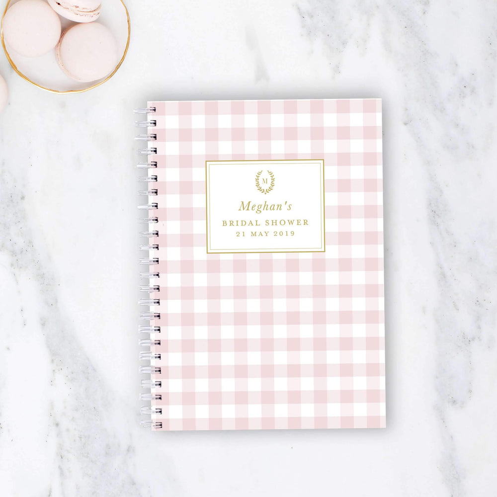 Bridal Shower Recipe Book | Blush Gingham - The Luxe Gift Co.