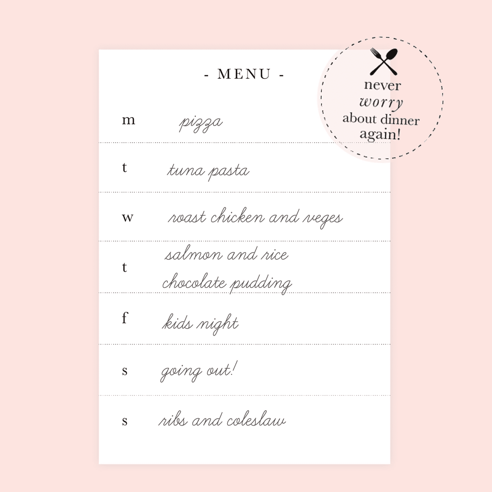Personalised Meal Planner | Classic Oversized Chevron Mint - The Luxe Gift Co.