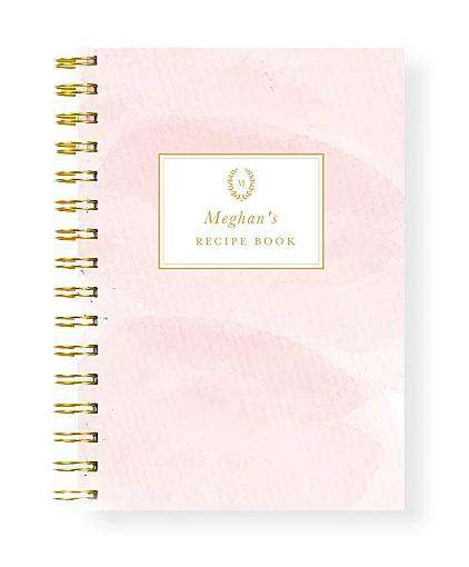 Bridal Shower Blank Recipe Book Personalised | Watercolour Blush