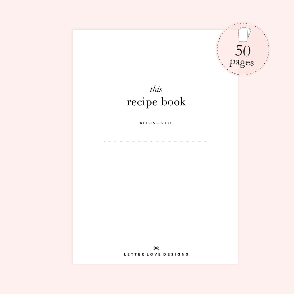 Bridal Shower Blank Recipe Book Personalised | Watercolour Blush - The Luxe Gift Co.