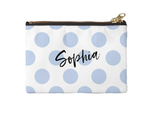 Personalised Makeup Bag - Large Polka Dots Bluebell