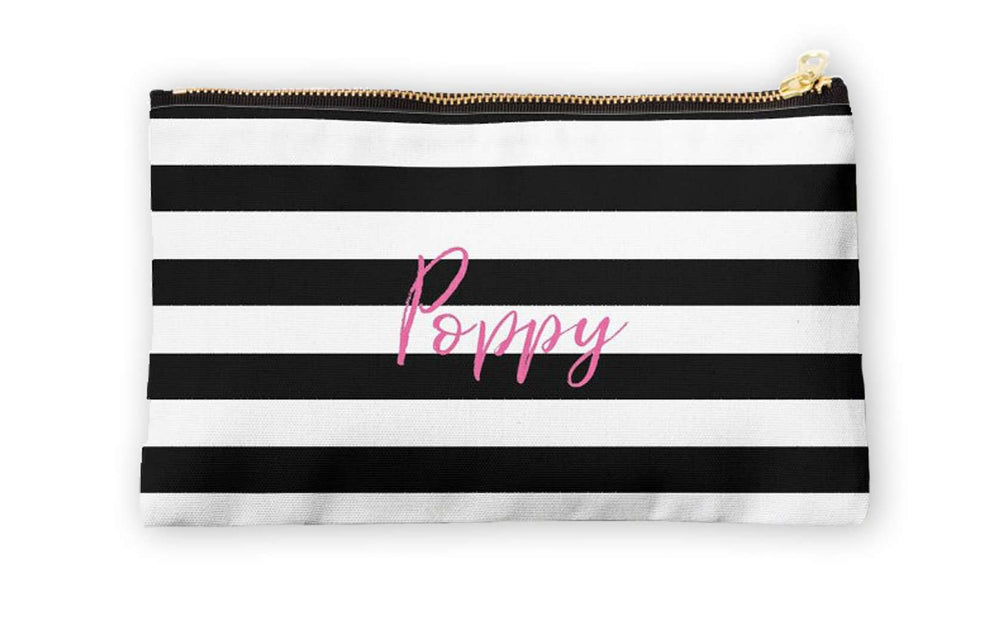 Personalised Makeup Bag - Classic Stripes - The Luxe Gift Co.