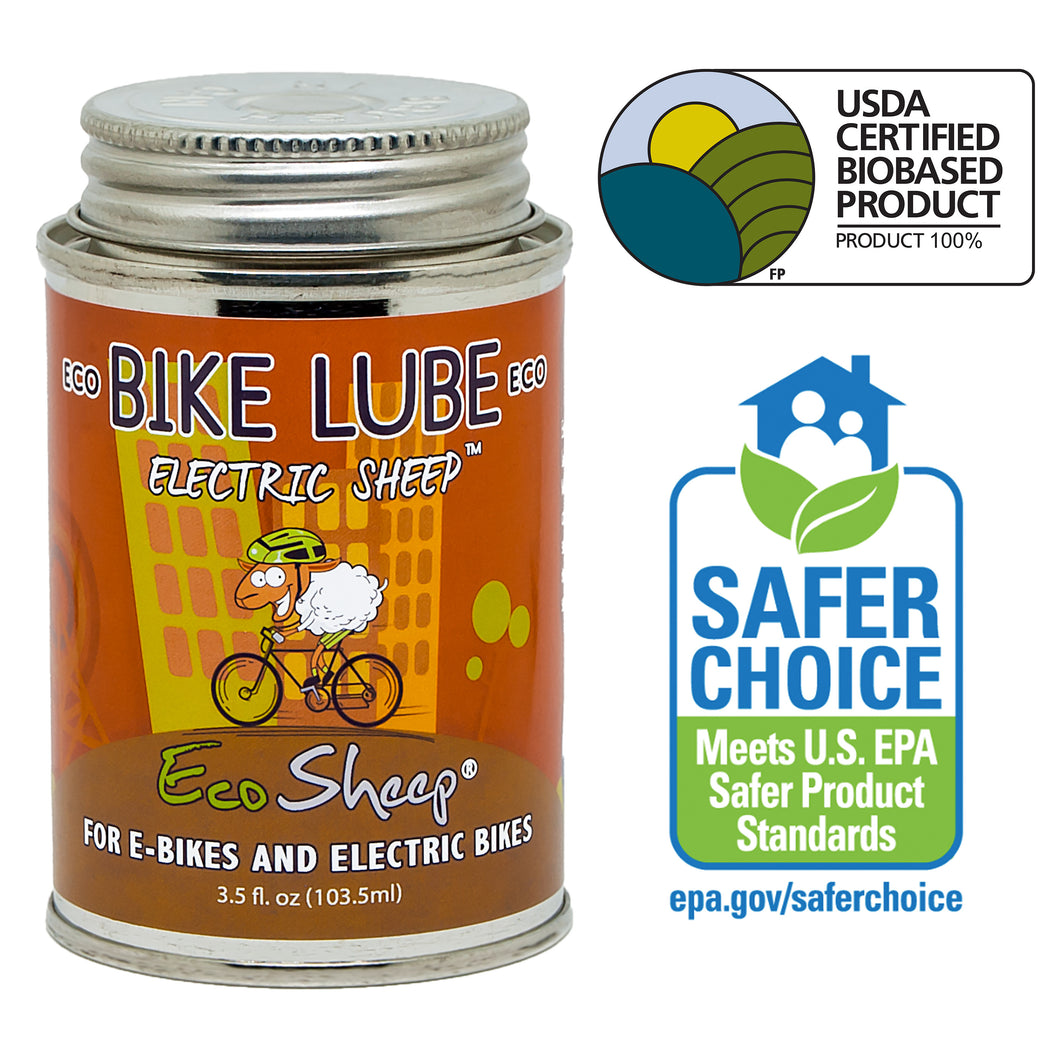 Eco Sheep ELECTRIC SHEEP – Awesome Lanolin-based, Eco-friendly Bike Chain Lube for E-Bikes - No Petroleum - EPA Safer Choice and USDA BioPreferred Approved Chain Lube.