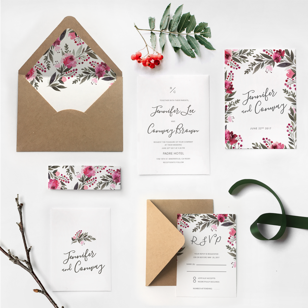 17. Gorgeous Vibrant Wildflowers Garland Calligraphy Invitations