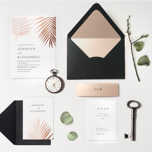 Rose gold foil wedding invite - Affordable custom stationery