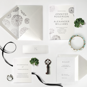 26. Silver Sparkling Flying Dandelion Opulent Invitation