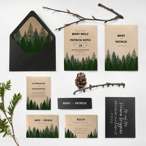 Pine tree forest wedding invite - Affordable custom stationery