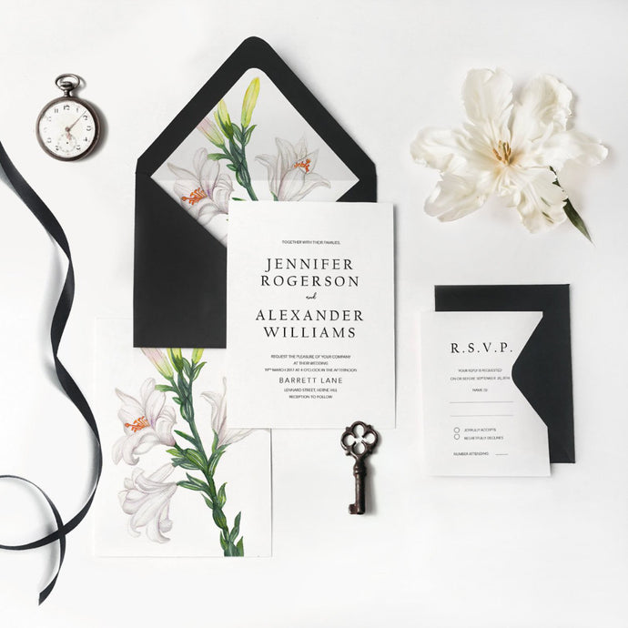 02. Watercolor White Lily Floral Elegant Invitation