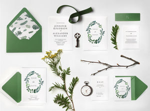 14. Graceful Floral Wreath Greenery Invitation