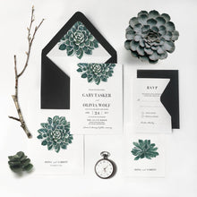 Tropical succulent wedding invitation stationery