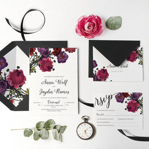 15. Burgundy Watercolor Ranunculus Botanical Invitation
