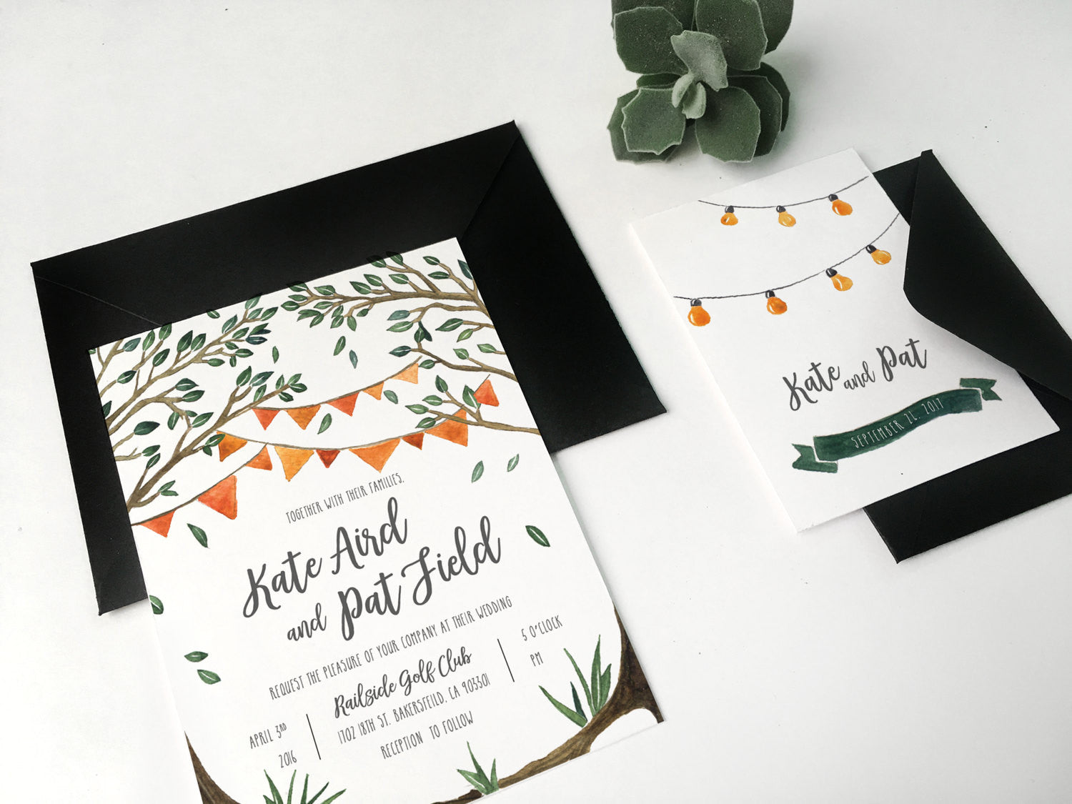 03. Under Canopy String of Lights Country Rustic Invitation ...