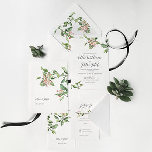 10. Watercolor Subtle Apple Blossom Summer Blush Chic Invitation