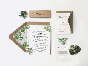 21. Funky Hand-Lettered Tropical Wedding Invitation