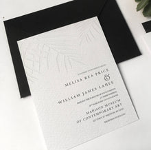 Letterpress embossing palm leave wedding invitation sweetdatesprints