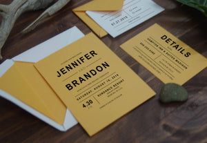 34. Vibrant Funky Yellow Monogram Invitation